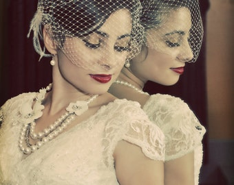 Ivory Wedding Veil, Ivory French Net Bridal Veil, Bandeau Veil, Small Birdcage Veil, Retro Bridal Veil, White Bridal Veil, Ivory Bridal Veil