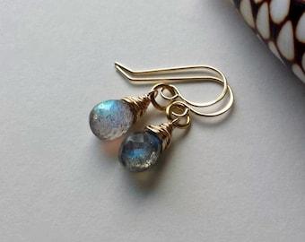 Tiny Labradorite Earrings, Minimalist Labradorite Earrings, Small Labradorite Drops,  Iridescent Gemstone Earrings, Grey Gemstone Dangle