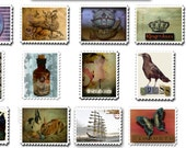 12 Faux Postage Stamps, Altered Art, Printables, Collage Sheet, ATC Downloads. Postal Art