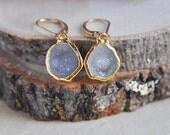 Druzy Earrings, Stone Earrings, 14k gold filled earrings, gold earrings, boho earrings, boho chic, small earrings, elegant earrings, geode