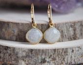 Moonstone Earrings, Rainbow Moonstone Earrings, Small Moonstone Earrings, 14k gold filled earrings, Small Earrings, Stone Earrings, Boho