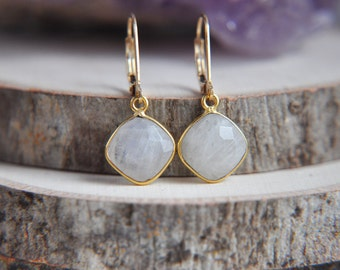 Moonstone Earrings, Rainbow Moonstone Earrings, Small Moonstone Earrings, 14k gold filled earrings, Small Earrings, Stone Earrings, Boho