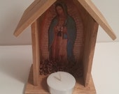 Virgen de Guadalupe small Rustic Like Cabinet Altar Shrine