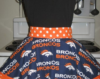 Denver Broncos Ladies Fancy Hostess Half Apron with Polka Dots
