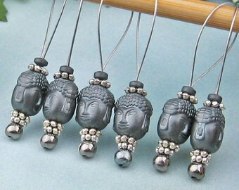 Stitch Markers, Knitting, Hematite Buddha, Semi-Precious Stones, Dark Grey, Snag Free, Knitting Tool, Knitting Accessory, Gift for Knitters