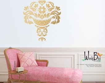 Gold Damask Wall Decal - Jacobean- large wall decal - gold metallic wall decal