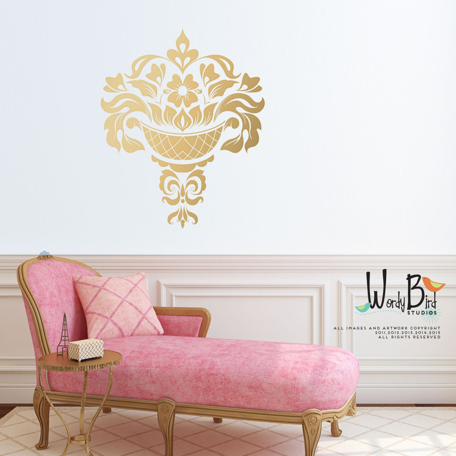 Gold Damask Wall Decal Jacobean Large Wall Decal Gold