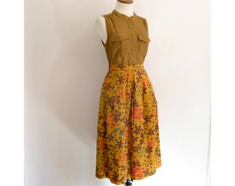 Givenchy geometric skirt - 80s vintage mod floral novelty print pleated high waisted full knee length orange red brown olive green
