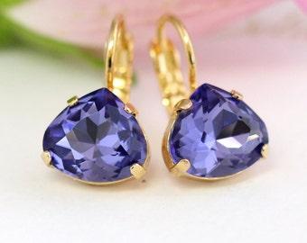 Purple Earrings,Purple Amethyst Earrings, Bridal Drop Purple Earrings, Bridesmaids Earrings, Purple Violet Crystal Earrings, Gift for her