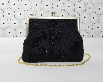 Delicate Vintage~RICHERE Black Glass Beaded Evening Bag~Formal Party Clutch~Purse Wristlet