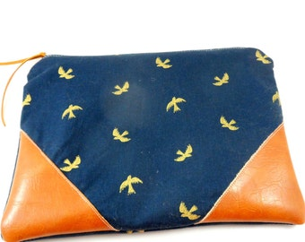 Gold Bird and Navy,  Vegan Leather Zippered Pouch