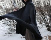 Mediaeval Wool Cloak With Hood Navy Blue