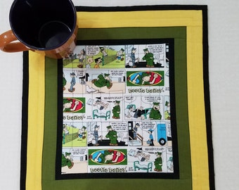 BEETLE BAILEY COMIC MugRug or Bar Mat quilted in 100% cotton measuring approx 13 x 15 inches.   A Quiltsy Handmade on Etsy Item
