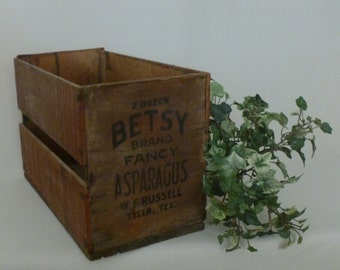 Vintage Betsy/Asparagus/Texas Crate