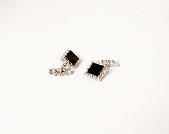 Vintage 60s CUFFLINKS / 1960s Black Onyx & Silver Large Flashy Cuff Links