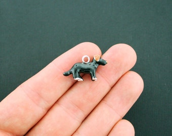 2 Black Dog Charms Silverplated Enamel 3D Details Fun and Colorful E199