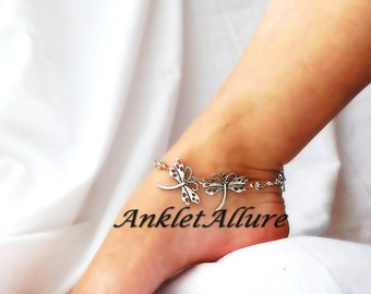 You n Me Dragonfly Anklet Body Jewelry Fusion Copper Foot Jewelry Silver Ankle Bracelet