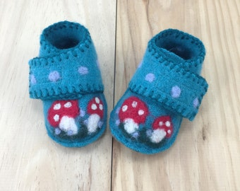 OOAK Blue Lambswool felted baby shoes with needle felted toadstools, up-cycled baby shoes, woodland baby shoes, soft baby shoes