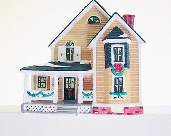 Woodbury House Dept 56 Snow Village 1993, Lighted Ceramic House Vintage Holiday Home Decor Colorful Christmas Display, Train Set Accessory
