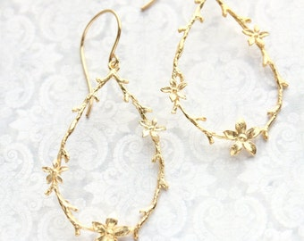 Twig and Flower Earrings Yellow Gold Branch and Blossom Floral Hoops Bridal Jewelry Bridesmaids Gift Botanical Dangle Earrings Nickel Free