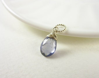 Sm - Sterling Silver Charm - Natural Gemstone Iolite Pendant - Water Sapphire Iolite Jewelry - Blue Gemstone Jewelry - Wire Wrapped Jewelry
