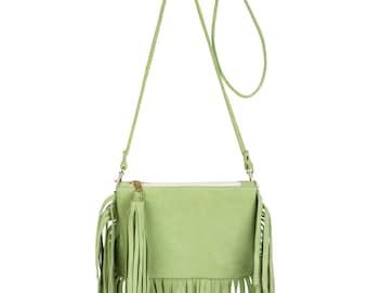 Lime Green Fringe Bag
