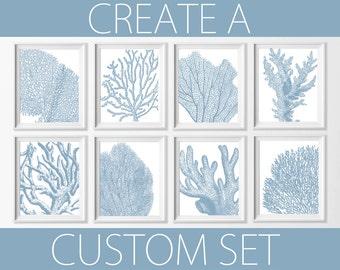 Coral Wall Art , Nautical Coral Blue Art , Beach Cottage Decor , Bathroom Beach Art , Bedroom Nautical Wall , Nautical Nursery Art Blue