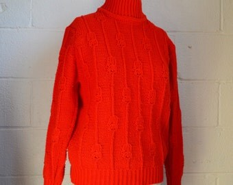 Vintage Red Sweater 1970s Bright Red Chunky Knit Fishermen Sweater with Zipper Turtleneck Acrylic Knit Easy Care by Sears Size Large