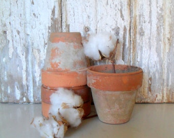 Antique Clay Pots, Terra Cotta Flower Pots, Aged Pots, Set of 4
