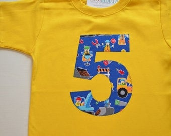 Construction 5th Birthday Tshirt, Boys Fifth Birthday Tee, Yellow and Blue, Construction Workers, Ready to Ship Short Sleeve Number 5 Trucks