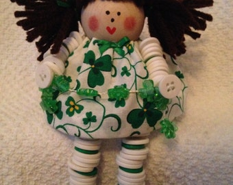 St. Patrick's Day Button Doll