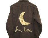 "Sequin Moon Shirt ""La Lune"" in Gold. Brown crescent moon shirts French France moonlight button down pockets cursive hand writing calligraphy"