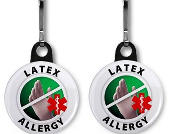 ALLERGIC TO LATEX Medical Alert 2-Pack of Zipper Pull Charms (Choose Size and Backing Color)