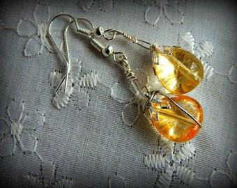 Citrine Earrings, Tumbled Citrine Drops, Silver Dangle Earrings, Citrine and Silver, Christmas Gift for Her, Stocking Stuffer. Citrine Drops