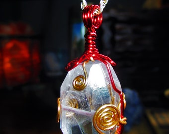 LARGE Diamond Faceted Phantom Ghost Quartz Pendant - Hand Wire Wrapped - Spiritual Growth, Universal Awareness, Balance, Clear Blockages