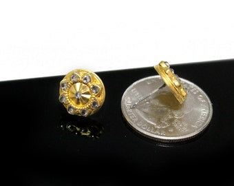 Small Gold Stud Earrings with Black Diamond Swarovski Crystals
