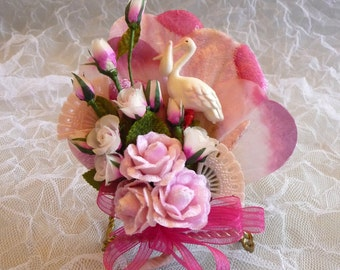 Baby Shower Corsage Vintage Stork Pink Flowers It's a Girl Mommy to Be Cake Topper Decoration
