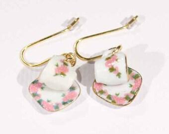 Pink Posie Teacup Earrings