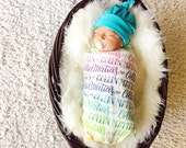 CUSTOM NAME Swaddle - Rainbow color - Organic cotton knit - Birth announcement - Personalized swaddle