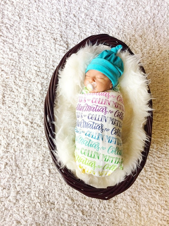 Personalized Rainbow Baby waddle Blanket