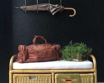 large vintage carrol real leather brown duffle bag / travel bag / weekender