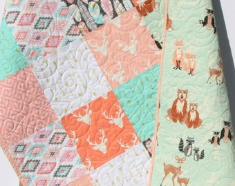 Rustic Baby Quilt Girl Crib Bedding Deer Blanket Gold Shimmer Coral Pink Gray Mint Nursery Woodland Hello Bear Feathers Arrows Aztec Tribal