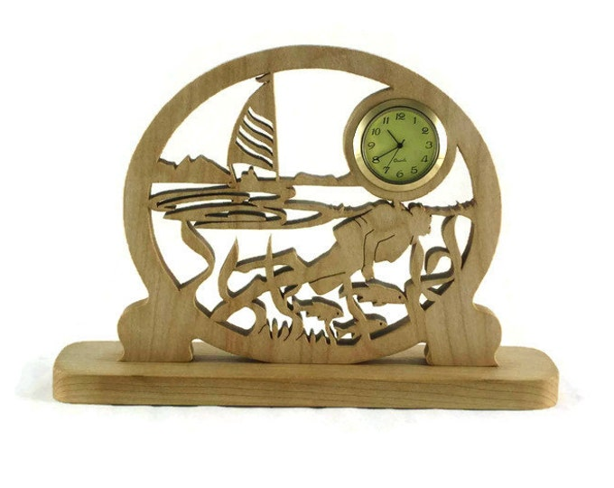 Scuba Diver And Sailing Scene Desk Or Shelf Clock Handmade From Maple Wood By KevsKrafts