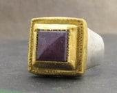 Ruby Signet Ring - Square Signet Ring - 24k Gold & Ruby Ring - Statement Ring