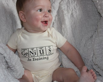 Science-Themed Baby One-piece - GENIUS IN TRAINING Bodysuit by Periodically Inspired - (Natural Ivory)