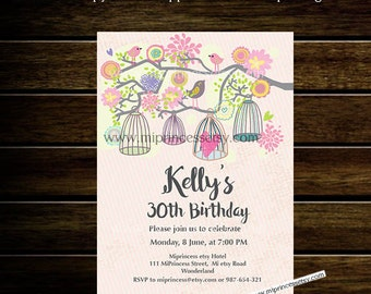 Birdcages Birthday Invitation for any age, Baby Shower, Bridal shower, invitation, shabby chic 30th 40th 50th 60th 70th 80th - card 148