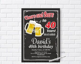 chalkboard beers Birthday Invitation  Beer Party Invitation any age 30th 40th 50th 60th 70th 80th party invitation - card 919