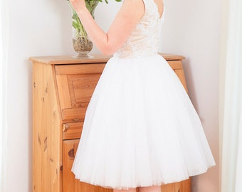 Romantic tulle and lace wedding dress with champagne lining