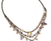3 Strand Amethyst, Citrine & Garnet Gemstone Necklace With Antique Gold/ Brass Accents on Brown Waxed Cotton - One of a Kind