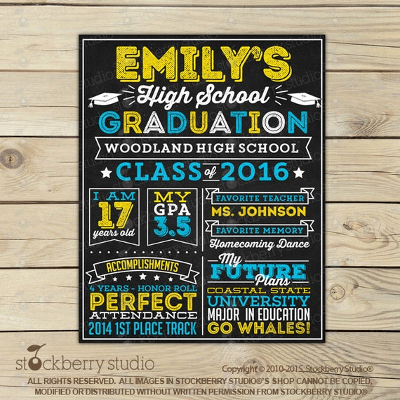 High School Graduation Chalkboard Sign Printable Graduation